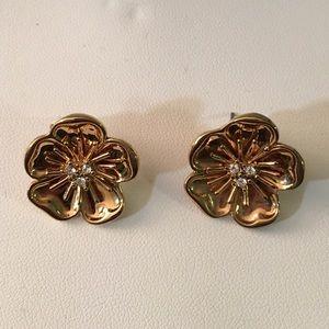 J. Crew gold flower earrings